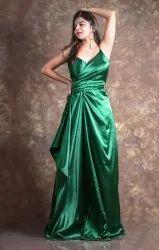 Party Wear bottle green Western Satin Dress