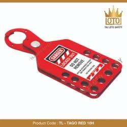 Aluminium Lockout Hasps TL - Tago Red 10H Tago Hasp Red With 10 Hole, Multipurpose