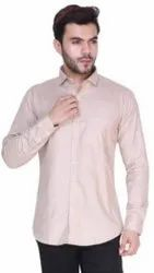 Collar Neck Mens Beige Plain Cotton Shirt, Handwash
