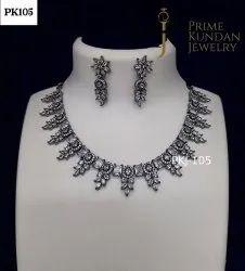 黑色美国钻石项链套,大小:可调,AD石头