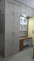 Gray Designer Wooden Wardrobe, For Home