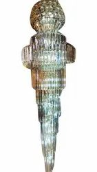 Silver Plated Cylindrical Crystal LED Hanging Chandelier