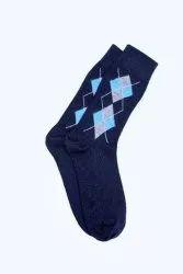 Men Dark Blue Long Woolen Socks