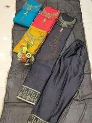 Party Wear Pant Iron Color Jaam Cotton Suit With Dupatta - Online Arihant Fashion