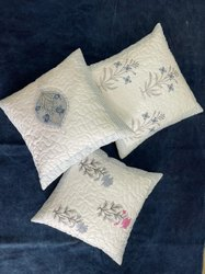 Hand block printed cotton quilted cushion cover