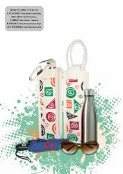 PRINTED CANVAS BAG ONE BOTTLE