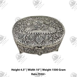 Silver Radha Krishna Dryfruit Box