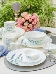 White Opalware Laopala English Lavender Dinner Set Of 35, For Home