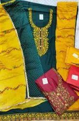 46inch Green Ladies Rayon Satin Salwar Suit