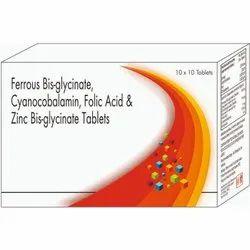 Ferrous Bis- Glycinate, Cyanacobalamin, Folic Acid & Zinc Bis-glycinate Tablets
