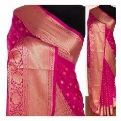 Party Wear Printed Banarasi Pure Cotton Silk Saree, With Blouse, 5 m