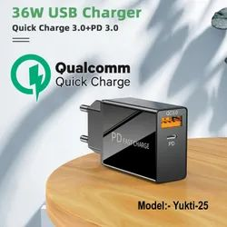 3amp 36w Pd Fast Qc3.0 Charger For Android Oppo Samsung Iphone