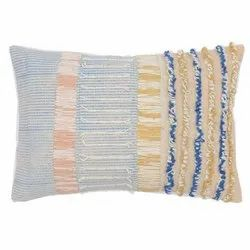 Multicolor Cotton Tufted hand embroidery pillow throw cushion, For Home, Size: 40cm X 60cm