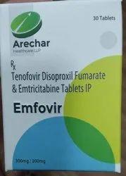 Emfovir(Tenofovir Disoproxil Fumarate& Emtricitabine)  (300mg,200mg)