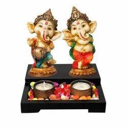 Tea Light Candle Stand with Bal Ganesha Statue Set