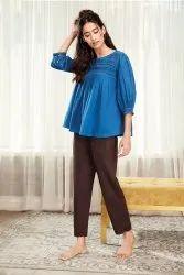 Janasya Women's Blue Cotton Flex Top(J0202)