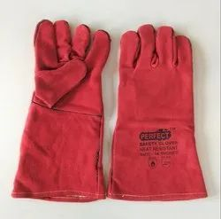 Red Leather Hand Gloves