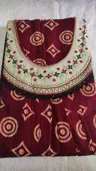 Plain Red Gujri mirror work gown