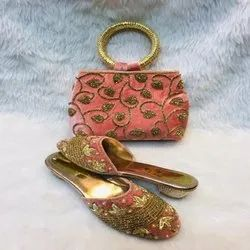 Pink And Black Printed African Shoes And Bag For Women And Girl