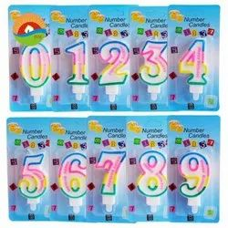 Multicolor Pillar Birthday Number Candles