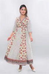 Cream Angrakha Printed Flared Dress, Size: 5 Sizes
