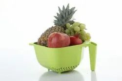 Loyal White Vegetables and Rice Plastic Washing Bowl with Handle, For Home