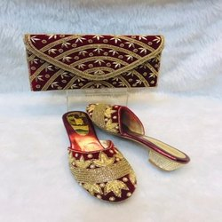 Red And Gold European Shoes And Bag For Women And Girl