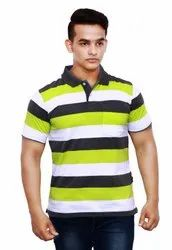 Print And Stripped Mens Striped T Shirt