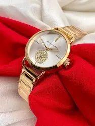 Women Round Mk Chain Belt Watch