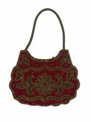 Maroon Cotton Canvas Ladies Handicraft Embroidered Hand Bag