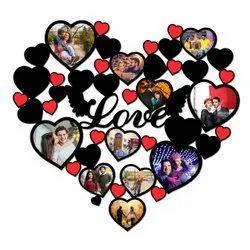 MDF Heart shaped sublimation photo frame, Size: 24x24 Inch