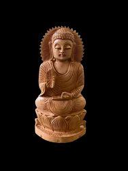 Gautam Buddha Ji Murti Wooden 8 Inch