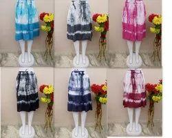 Lucky Handicraft Cotton Short Shibori Skirt, Size: Free Size