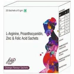 L- Arginine, Proanthocyanidin, Zinc & Folic Acid Sachets