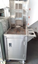 Three Burner Shawarma Machine With Hot Plate & Trolley