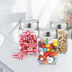 Glass Storage Jar Containers Window Lid, Pack of 3, 300 Ml each (H23012-R)
