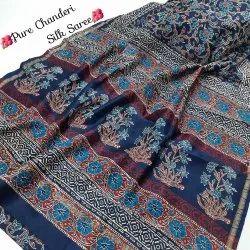 Blue New Latest Collection Bagru Hand Block Printed Pure Chanderi Silk Saree
