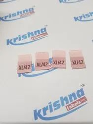 Woven size labels for clothing