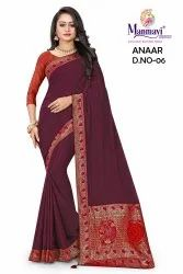 Manmayi Creation Party Wear Dark Maroon Lace Work Cotton Polyester Saree, With Blouse, 6.3m