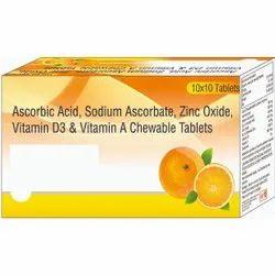 Ascorbic Acid, Sodium Ascobate, Zinc Oxide, Vitamin D3 & Chewable Tablets