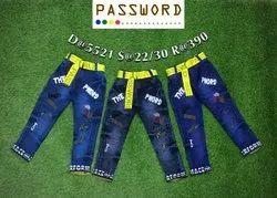 Kids Printed Blue Denim Jeans