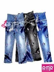 Casual Wear Stretchable Girl Printed Denim Jeans, Size: 32 (waist), Machine wash