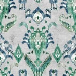 Printed White And Green 56inch Synthetic Linen Digital Export Fabric, For Garments