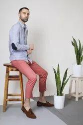 Striped White Full Sleeve Men Casual Cotton Shirt