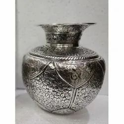 Brass Silver Plated Flower Vase / Kalash For Decoration & Corporate Gift