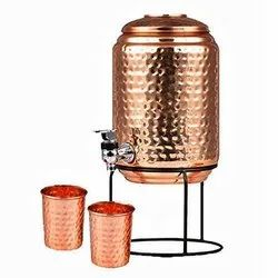Jointless Pure Copper Water Pot Matka Vessels 5 Liter with Stand and 2 Glass