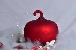 Glossy Red Decorative Glass Pumpkins, Size/Dimension: 5 Inch
