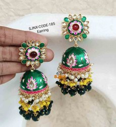 Green Jhumka Fashion Designer Round Shape Earring For Women Jewellery