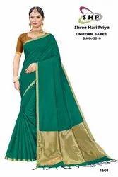 6.3m Casual Ladies Dark Green Bhagalpuri Silk Saree, With Blouse Piece