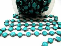Turquoise Plain Smooth Round Coin Shape 11mm Bezel Connector Chain Black Oxidized Sold Per Foot
